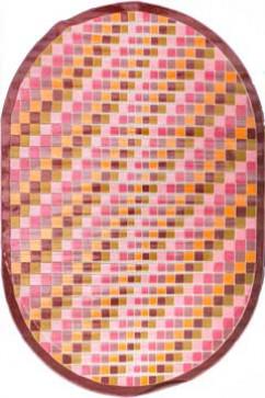 Ковер BONITA 3203 PMB Овал из Акрил производства Турция  в розово-фиолетовых, в желто-оранжевых цветах - фото М
