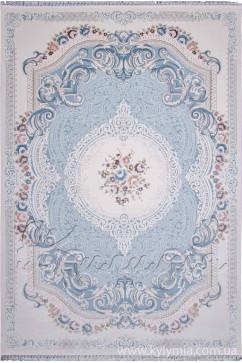 Ковер BELMOND K184A L. BLUE/H.B CREAM Прямоугольник из 70% акрил, 30% полиэстер производства Турция  в белых, в сине-бирюзовых цветах - фото М