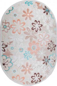 Ковер BONITA I210 KMK Овал из Акрил производства Турция  в белых, в бежево-кремовых, в сине-бирюзовых цветах - фото М