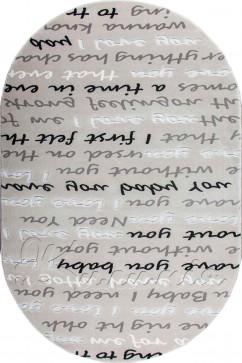 Ковер BOYUT 0022 GRI Овал из Акрил производства Турция  в серых цветах - фото М