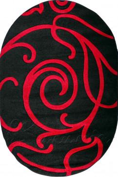 Ковер CALIFORNIA 0046 BRD Овал из Полипропилен производства Турция  в красно-бордовых, в черных цветах - фото М