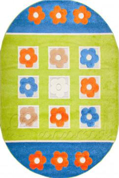 Ковер FULYA 8912A GREEN Овал из Полипропилен производства Турция  в зелено-оливковых, в сине-бирюзовых цветах - фото М